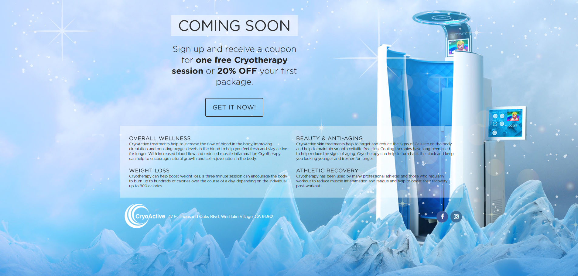 Cryoactive Sales Page Design
