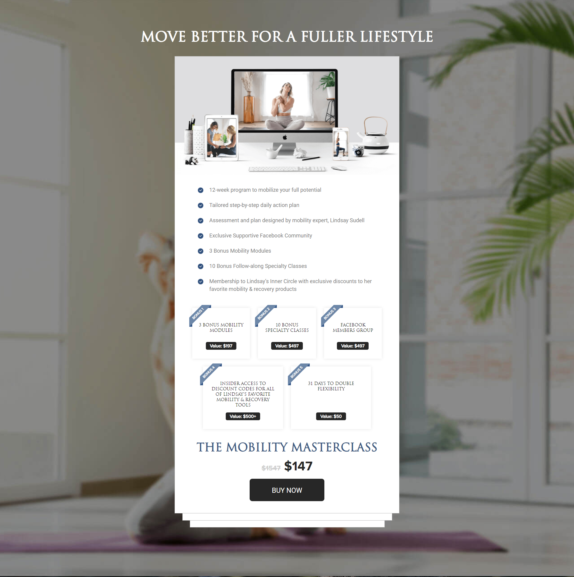 The Mobility Masterclass Sales Page